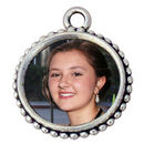 Round Bead Photo Charm with Rose Image on Back in Antique Silver Pewter Picture Charm