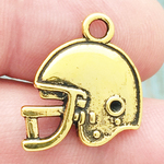 Football Helmet Charm in Antique Gold Pewter Double Sided Flat