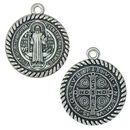 St Benedict Medal Pendant with Rope Trim in Antique Silver Pewter