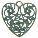 Filigree Heart Pendant in Antique Gold and Turquoise Blue Pewter Large