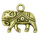 Ornate Flat Double Sided Elephant Charm in Antique Gold Pewter