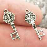 St Benedict Medals Bulk Key Charm in Silver Pewter Tiny