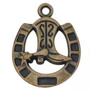 Horseshoe with Cowboy Boot Charm in Antique Bronze Pewter