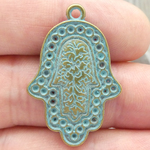 Hamsa Hand Charm in Gold Pewter with Turquoise Patina