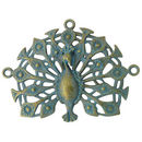 Bird Peacock Pendant in Antique Gold Turquoise Pewter Large