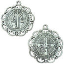St Benedict Medal Pendant Double Sided with Ornate Scroll Trim in Antique Silver Pewter  Large