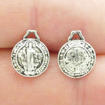 St Benedict Medal Wholesale Puffed Double Sided in Antique Silver Pewter Tiny