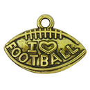 I Love Football Charm Antique Gold Pewter