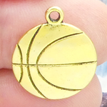 Basketball Charms Wholesale Double Sided in Gold Pewter Medium