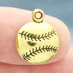 Baseball Charm Pendant Antique Gold Pewter