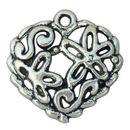 Heart Charm Pendant Scroll Floral in Antique Silver Pewter