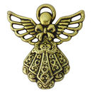 Angel Charm in Antique Gold Pewter with Ornate Dress