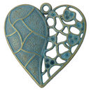 Heart Pendant with Mosaic Tile and Cutout Design in Antique Gold and Turquoise Pewter Large