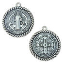 St Benedict Medal Pendant with Rope Trim in Antique Silver Pewter Large