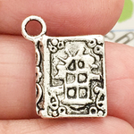 Silver Book Charm in Pewter Double Sided
