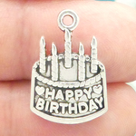 Happy Birthday Cake Charm in Silver Pewter