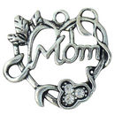 Filigree Heart Mom Charm with Crystal in Silver Pewter