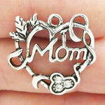 Heart Mom Charms Wholesale with Crystal in Silver Pewter