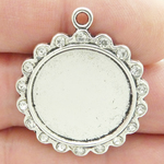 Round Photo Charms Wholesale in Silver Pewter with Crystal Accents