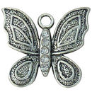 Butterfly Charm Pendant Antique Silver Pewter with Crystal Accents