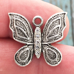 Silver Butterfly Charm Pewter with Crystal Accents