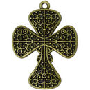 Ornate Bronze Cross Pendant in Pewter