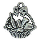 Picnic Basket Charm in Silver Pewter