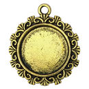Filigree Round Photo Charm in Antique Gold Pewter Picture Charm