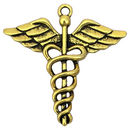 Medical Charm in Gold Pewter Caduceus Pendant