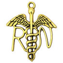 RN Caduceus Charm in Pewter Gold Medical Pendant