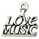 I Love Music Charm in Silver Pewter