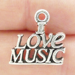 I Love Music Charm Wholesale in Silver Pewter