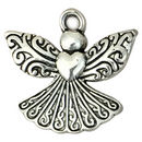 Silver Angel Charm in Pewter with Heart