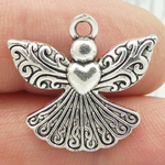 Silver Angel Heart Charm in Pewter