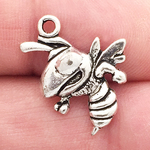 Fighting Silver Bee Charm in Pewter