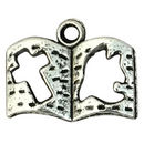 Silver Bible Charm with Holy Spirit and Cross in Pewter