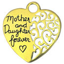 Mother and Daughter Heart Charm Gold Pewter