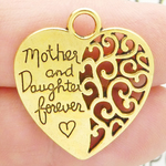 Mother Daughter Charms Wholesale in Heart Shaped Gold Pewter