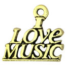 I Love Music Charm in Gold Pewter