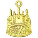 Happy Birthday Cake Charm in Gold Pewter
