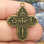 Four Way Cross Charm Bronze with Miraculous Medal