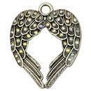 Spread Silver Angel Wings Pendant with AB Crystals