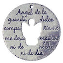 Spanish Guardian Angel Charm Prayer Pendant in Silver Pewter Large