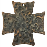 Hammered Copper Cross Pendant Pewter