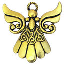 Gold Angel Charm in Pewter with Flowing Dress