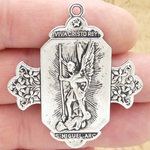 Spanish St Michael Pendant in Silver Pewter