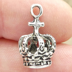 Silver Crown Charm with Cross in Pewter 3D Charm