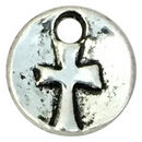 Silver Cross Charm Double Sided Disk in Pewter