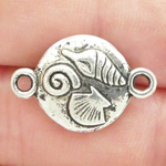 Silver Seashell Bracelet Connector in Pewter