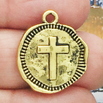 Gold Cross Medallion Charm in Pewter
